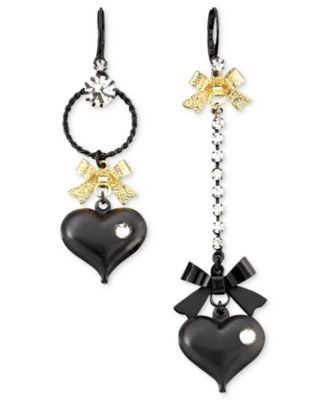 Asymmetrical Black Heart Drop Earrings