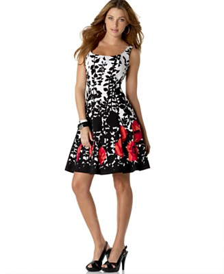 NINE WEST DRESS Sleeveless Scoop-Neck Floral Dress - Dresses - Women's  - Macy's