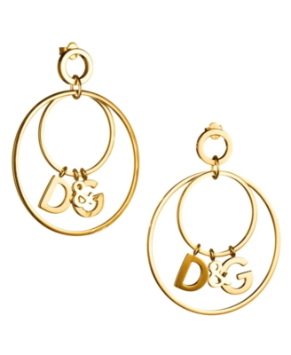 D&G Dolce & Gabbana Logo Hoop Earrings