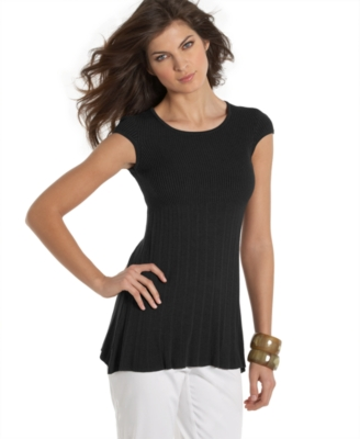 Studio M Cap-Sleeve Ribbed Knit Top
