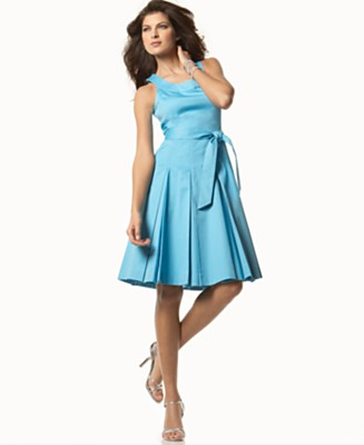 Calvin Klein Sleeveless Scoop-Neck Pleated Dress - Dresses - Women's - Macy's :  blue dress retro dresses