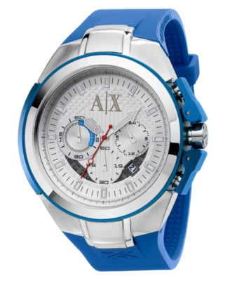 AX Armani Exchange Watch, Men's Blue Polyurethane Strap AX1041