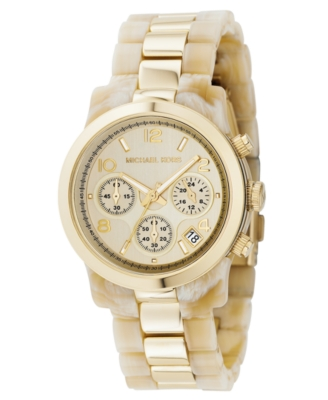 MICHAEL Michael Kors Watch, Women's Goldtone Mixed Metal and Horn Acrylic Bracelet MK5139