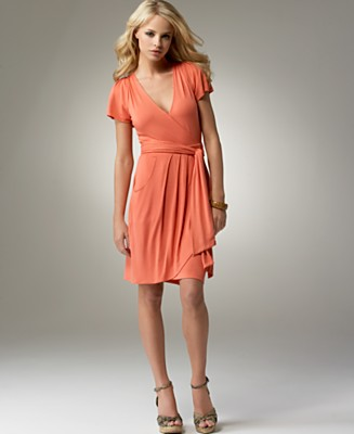 BCBGeneration Flutter-Sleeve Jersey Wrap Dress - Dresses - Women's - Macy's :  wrap dress coral dress dresses
