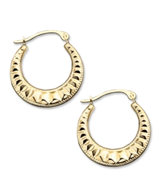 14k Gold Small Polished Pleat Hoop Earrings