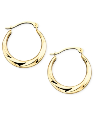 14k Gold Small Polished Swirl Hoop Earrings