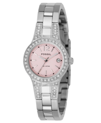 Fossil Watch, Women's Crystal Accented Stainless Steel Bracelet AM4191