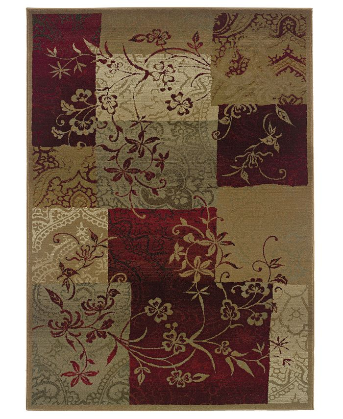 """Oriental Weavers - """"Genesis"""" 80X Natural / Maroon Area Rug, 2' x 3'"""