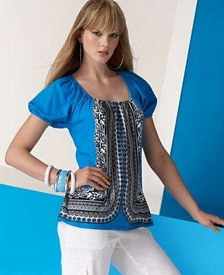 INC International Concepts® Printed Puff-Sleeve Peasant Top - Tops - Women's  - Macy's :  blue womens inc shirts