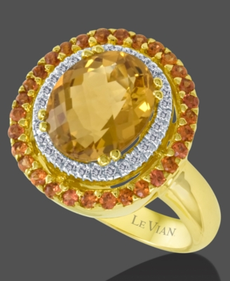 Le Vian 14k Gold Citrine (3-1/4 ct. t.w.), Orange Sapphire (1/2 ct. t.w.) & Diamond (1/10 ct. t.w.) Big Stone Ring