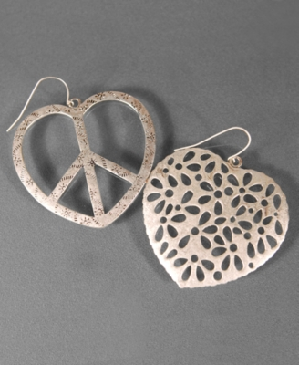 Jessica Simpson Silvertone Peace Heart Earrings