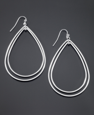 GUESS Silvertone Teardrop Hoop Earrings