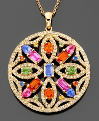 14k Gold Multi Sapphire (4 ct. t.w.) & Diamond (9/10 ct. t.w.) Pendant