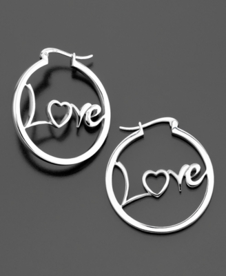 Sterling Silver Love Hoop Earrings