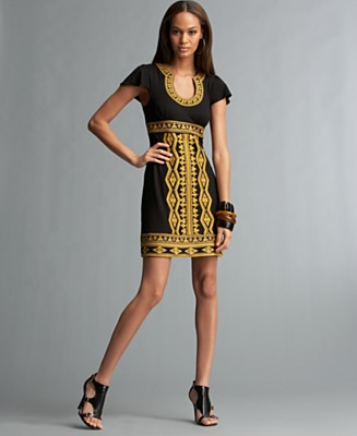 INC International Concepts® Petite Short Sleeve U-Neck Embroidered Dress - Dresses Petites - Women's  - Macy's
