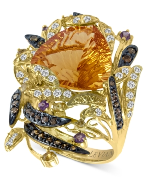 Le Vian 14k Gold Ring, Citrine (9-1/10 ct. t.w.), White Topaz (1/2 ct. t.w.), Chocolate Diamond (2/5 ct. t.w.) and Garnet (1/5 ct. t.w.) Ring