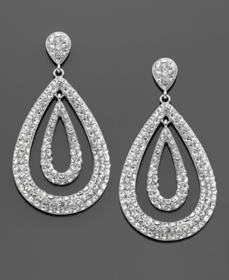 Kenneth Jay Lane Earrings, Silvertone Crystal Accent