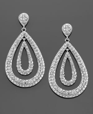 Kenneth Jay Lane Earrings, Silvertone Crystal Accent