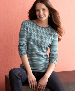 Charter Club Long Sleeve Striped Tee
