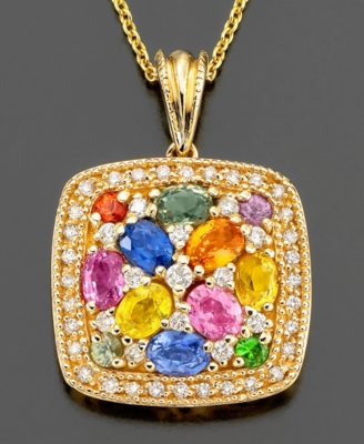 14k Gold Pendant, Sapphire (2-1/10 ct. t.w.) and Diamond (1/4 ct. t.w.)