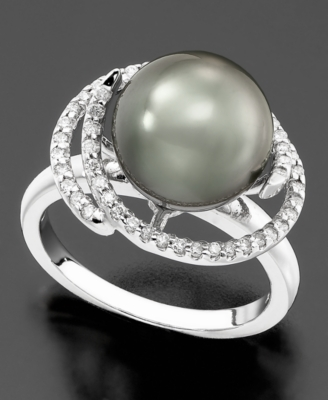 14k White Gold Ring, Tahitian Pearl & Diamond (1/4 ct. t.w.) Petal