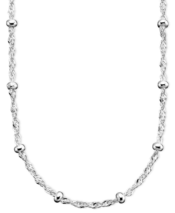 "Giani Bernini - Sterling Silver Necklace, 18"" Small Bead Singapore Chain"