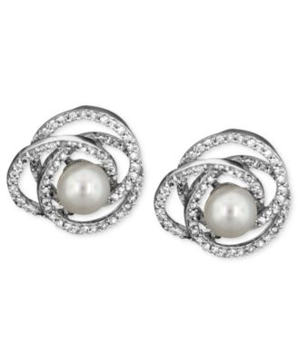 14k White Gold Jewelry Collection Diamond and Cultured Freshwater Pearl Jewelry Ensemble