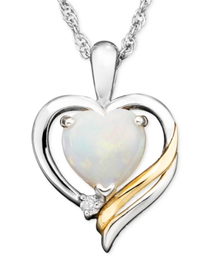 14k Gold and Sterling Silver Pendant, Opal (3/4 ct. t.w.) and Diamond Accent