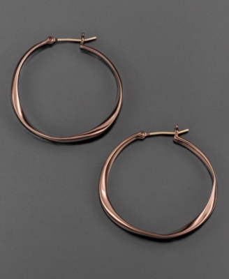 Fossil Earrings, Brown Ion-Plated Hoop