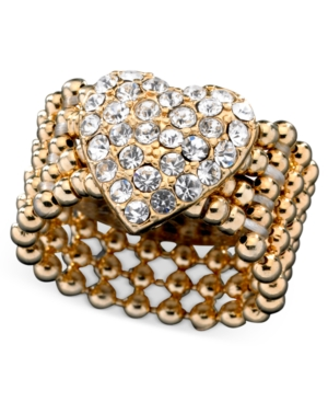 Guess Ring, Gold-Tone Crystal Accent Heart Stretch