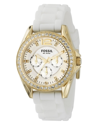 Fossil Watch, Women's White Silicone Strap ES2348