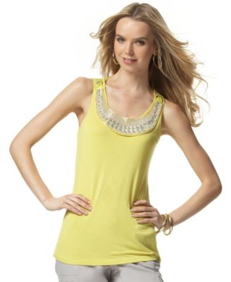 INC International Concepts Top, Beaded Necklace Tank
