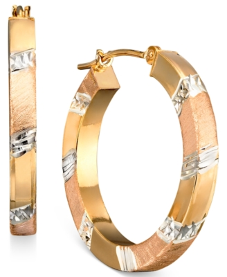14k Gold over Sterling Silver and Sterling Silver Hoop Earrings