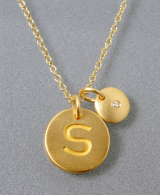18k Gold Over Sterling Silver Pendant, S Initial