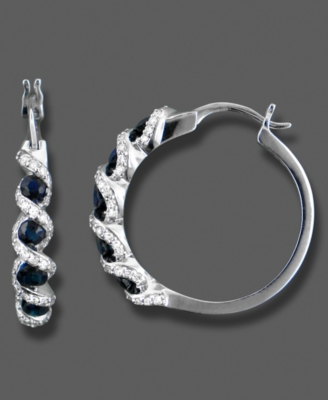 14k White Gold Hoop Earrings, Sapphire (1 ct. t.w) and Diamond (1/3 ct. t.w.)