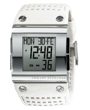 AX Armani Exchange Watch, Men's White Leather Strap AX1065