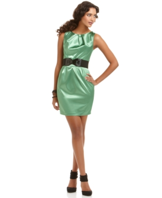 BCX Dress, Sleeveless Belted Satin