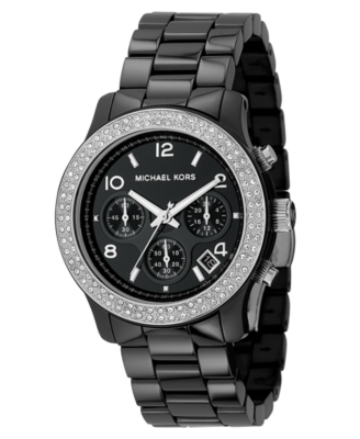 MICHAEL Michael Kors Watch, Women's Stainless Steel and Black Ceramic Bracelet MK5190
