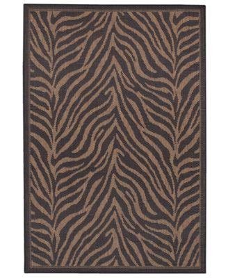 "CLOSEOUT! Recife Zebra Black/Cocoa 3'9"" x 5'5"" Indoor/Outdoor Area Rug"
