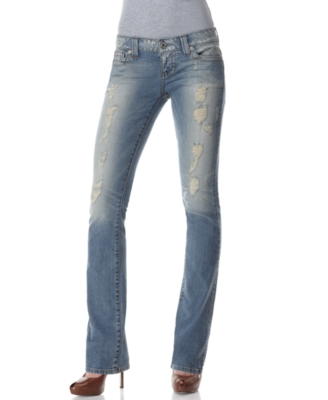 GUESS Jeans, Flirty Straight Leg, Tumbleweed Destroyed Wash