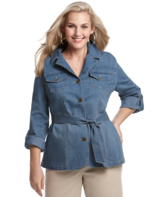 Charter Club Plus Size Shirt, Tabbed-Sleeve Belted with Pockets