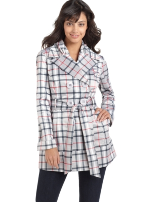 Sequin Hearts Coat, Plaid Double Breasted Trench - Outerwear