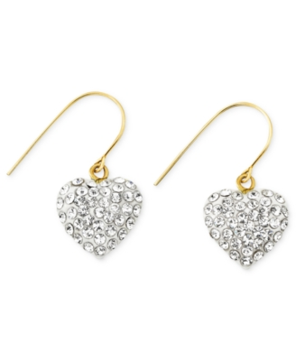 14k Gold Earrings, Crystal Accent Heart