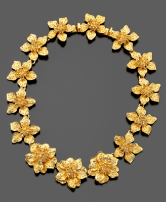 Kenneth Jay Lane Necklace, Satin Goldtone Flower