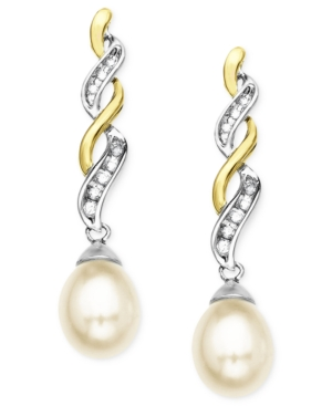 14k Gold and Sterling Silver Earrings, Cultured Freshwater Pearl and Diamond Accent