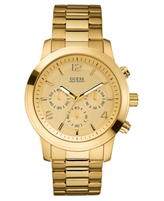 GUESS Watch, Chronograph Goldtone Stainless Steel U15061G2