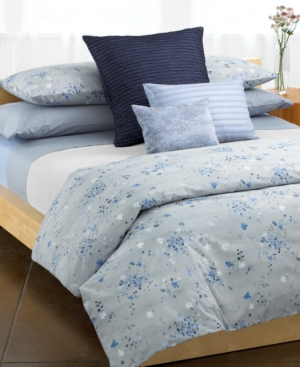 Calvin Klein Home Bedding, Blue Flower Queen Fitted Sheet Bedding
