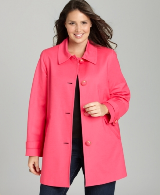 Jones New York Signature Plus Size Coat, Stretch Cotton - Outerwear
