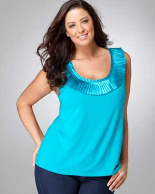 Alfani Plus Size Top, Sleeveless Pleated Trim Tank