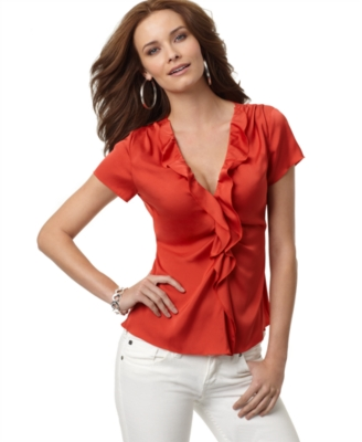 T Tahari Top, Daphney Short Sleeve Ruffled Silk - Ruffle Blouse